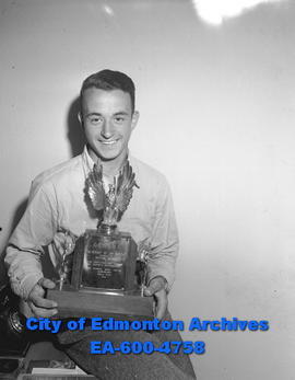 Bob Randall, winner of this year's Edmonton Bulletin annual airshow. Bob Randall returned today f...