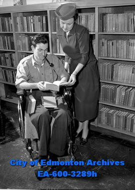 Women's Page: War vets are given books to read in hospital. Mrs. W.G. Montgomery helps Bruce Bean...