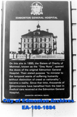 Edmonton Historical Board Plaque -- Edmonton General Hospital