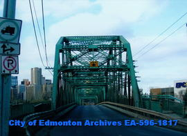 Walterdale Bridge on south bank looking north