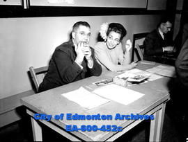 Edmonton city teachers open 22nd Annual Convention at Garneau School: (L-R) F. E. Donnelly and M....