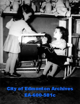 Patty, left, and Judy Unwin visit the Edmonton doll hospital.