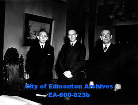 (L-R) Hon. Ivan Casey, Premier Ernest Manning and Lieutenant Governor J.  C.  Bowen after Mr. Cas...