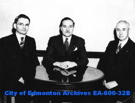 Prof. W. W. Preston, J. A. Cranswick and H. W Tye, officers of the Edmonton branch of the Enginee...