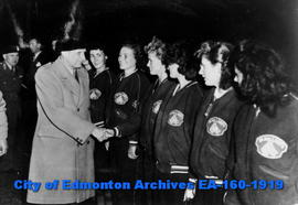 Field Marshall Bernard Montgomery Congratulating Players on a Girls Softball Team