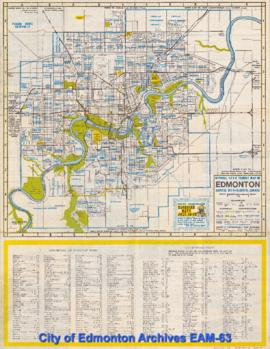 Official 1966 Tourist Map of Edmonton, Capital City of Alberta Canada