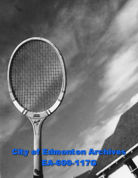 Close up of a tennis racket, Garneau Tennis Club, Edmonton.