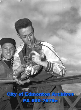 """Combined Operation Rescues Wee Kitten"". Vic Strong with kitten."