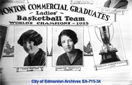 Edmonton Commercial Graduates Ladies Basketball Team, World's Champions 1925 - detail