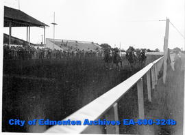 Horse racing at the Edmonton Exhibition grounds track: (L-R) M. O'Halloran on Brownsover, G. Godl...
