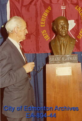 Former Lieutenant Governor and Calgary Mayor Grant MacEwan gazes on his likeness at Calgary's Cit...