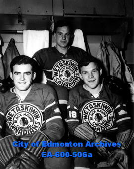 Wetaskiwin Canadians Junior Hockey team members. (L-R)  Don Robertson, Ken Cook and Colin Kilburn...