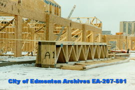 Construction of 104th Avenue shopping centre.