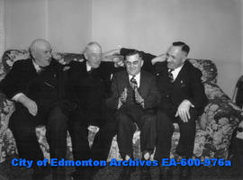 Edmonton Thoroughbred Society's annual banquet: (L-R) W. S. Walker, Jack Glover, Bob Edwards and ...