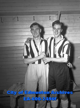 Joe Harvey, captain for Newcastle Magpies, with teammate.