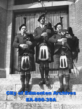 Members of Edmonton Boys' Pipe Band: Albert Duncan, David Duguid and Roddy Small.
