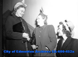Edmonton city teachers open 22nd Annual Convention at Garneau School: (L-R) Phyllis Campbell, Ada...