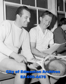 Men's Civil Service tennis tourney. Don Joyce (left) and Orville Sparks.