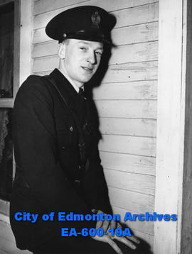 Constable H. I. Moore, Edmonton City Police, following armed holdup.