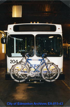 Low floor bus with bike rack