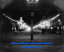 101 Street From Jasper Avenue at Christmas Time.  Taken at 9:16 P.M. when the temperature was 10 ...