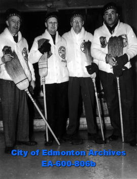 Winners of the British Consols final, Calgary Glencoe Club rink:(L-R) Fred Graham, Ole Syverson, ...