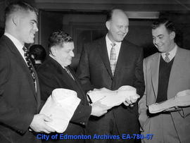 Edmonton Eskimo Coach Frank Ivy (second from right)