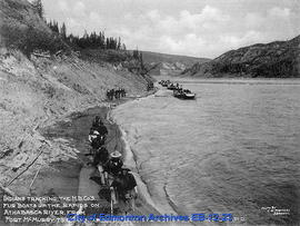 Indians Tracking the H.B. Co's Fur Boats up the Rapids on Athabasca River