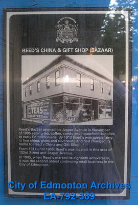 EHB Plaque for Reed's China and Gift Shop