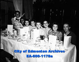 Alberta Motor Association banquet honouring school patrols, King Edward School. L-R: L. Mayan, M. Girard, G. Hughes, M. Smith, E. Taube, S. Dominy, J.S. Smith, B. Lloyd.