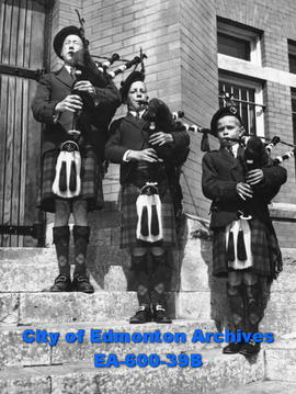 Members of Edmonton Boys' Pipe Band.