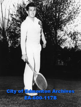 Jack Thorburn, supervisor and instructor of the juniors at the Garneau Tennis Club, Edmonton.