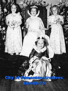 Riverdale Community League May Queen, Mary Joan Nicholls, and attendants Sandra Lee Moon,  Peggy ...