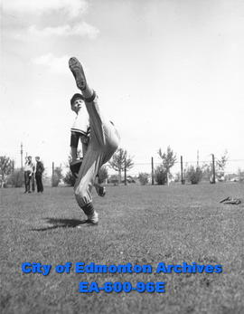 Pitcher Bob Fleming from junior baseball league, Edmonton.
