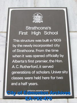 EHB Plaque for Strathcona High School