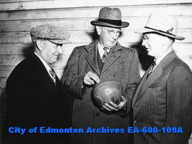 L-R: Matt Thompson, manager of the Cloverdale soccer club; Tom Green, president of the Edmonton a...