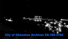 The Edmonton Exhibition at night.