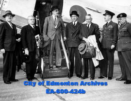 Group of prominent British scientists touring Canada: (L-R) R. G. MacNeill, Sir Ben Lockspeiser, ...