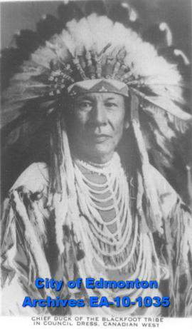 Chief Duck of the Blackfoot Tribe in Council Dress