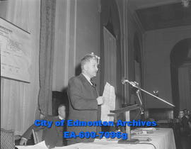 Edmonton defence coordinator, Brig. J.C. Jefferson, during a meeting of the Edmonton Chamber of C...