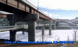 Anthony Henday Bridge, from side with view of pedway below