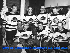 "1939 Capitols hockey team at exhibition game with 1934 EAC hockey team: (L-R, B-T) ""Pug&quot..."
