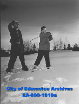 Midwinter golfing in Edmonton: Crawford Ferguson and Bob Judge.