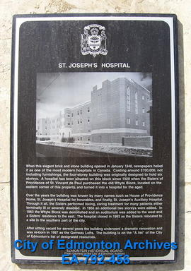 EHB Plaque for St. Joseph's Hospital