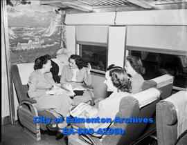 CPR Calgary to Edmonton train route. L-R: Rita Hill, Minnie Smalko, Elaine Farrell and Helen Mart...