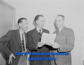 Chamber of Commerce organized in Jasper Place. (L-R) Robert Moody, Emmett Spears and Dr. Fraser M...