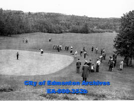 Edmonton Ladies' Golf Championship at Highlands Club: Mrs. George Manning playing, with E. E. (Pe...
