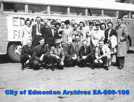 Edmonton bowlers pose in front of bus on their way to the Western Canada Five Pin Bowling Associa...