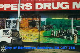 Beverly Shoppers Drug Mart decorated with murals - detail of three images