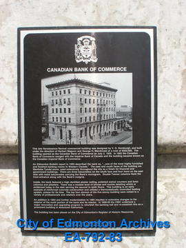 EHB Plaque for Canadian Bank of Commerce